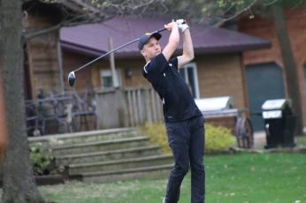 Charles City's Jackson Molstead launches a drive Tuesday during a four-team meet at Cedar Ridge Golf Course in Charles City. (Photo by Chris Baldus