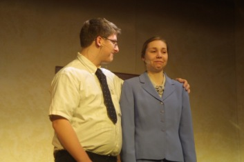 """Matthew Bottorff as Gene and Jayne Levi as Kitty rehearse Thursday for the Nashua-Plainfield spring play, """"Three's a Family."""""""
