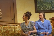 """Jayne Levi an Kitty reacts as Carlee Smith as Erma says something outrageous Thursday as the rehearse the Nashua-Plainfield spring play, """"Three's a Family."""""""