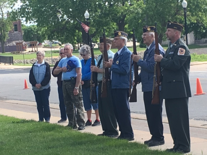 An honor guard of area veterans fired off three sets of shots in memory of those who have passed. - Photo by Chris Baldus