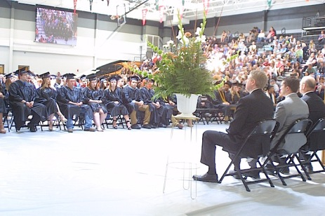 The Charles City High School Class of 2017 takes a moment of silence to remember their lost classmate Evelyn Miller, who was murdered when she was 5 years old. — Photo by Chris Baldus