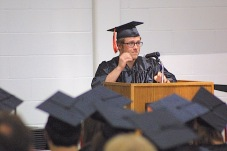 Nathaniel Adrian Reams delivers a speech Sunday during the Charles City High School graduation ceremony in the district's competition gym. — Photo by Chris Baldus
