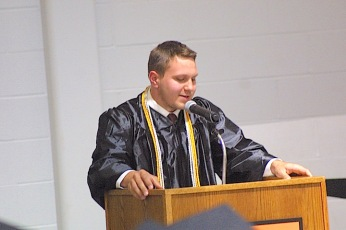 Mason Lawrence Meyer delivers remarks Sunday at the Charles City High School graduation ceremony in the district's competition gym. — Photo by Chris Balduys