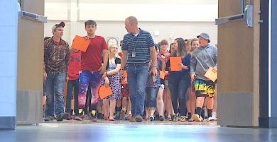 The Charles City Class of 2021 begins its march to the front doors of the high school on Friday.