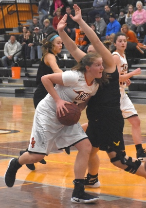 Charles City's Jodie Sindlinger drives to the basket Tuesday at home against Waverly-Shell Rock